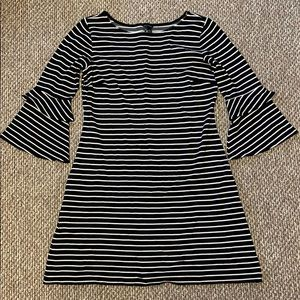 Ann Taylor Black and White Striped Dress